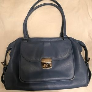 Levenger  Blue Buttery Soft Leather Handbag